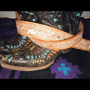 Accessories - Tooled leather Mexican team roper belt